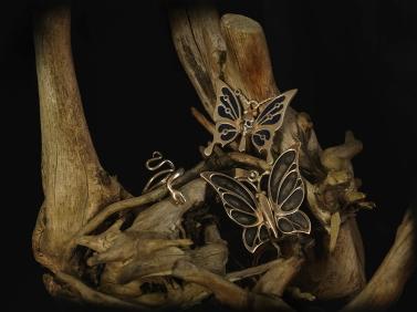 Ormring, fjärilar i silver